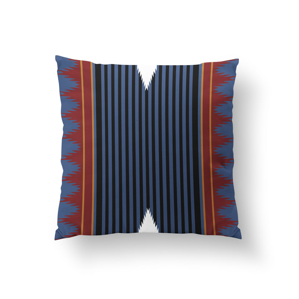 Load image into Gallery viewer, Colonnade Cushion - Blue Rust Pure Mulberry Silk 50x50cm