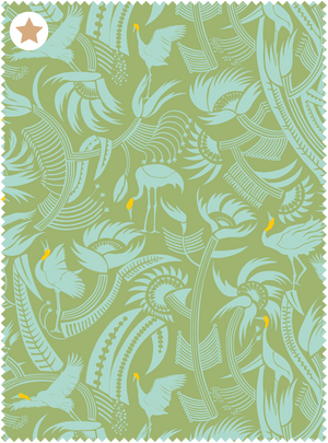 You Can't Put Butter On a Crane's Head Fabric - Sea Blue Green Cotton Linen