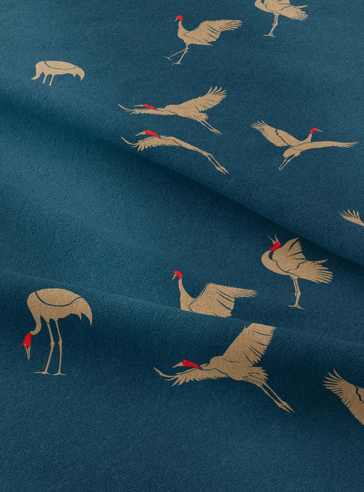 Flying Cranes Fabric - Aegean Cotton