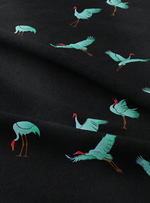 Flying Cranes - Rich Black Cotton