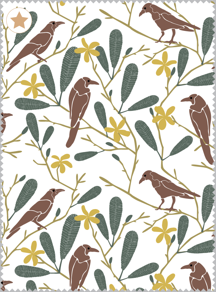 The Crow Fancies Itself a Swan Fabric - Earth Brown Cotton