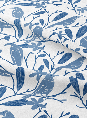 The Crow Fancies Itself a Swan Fabric - Fresh Indigo Cotton