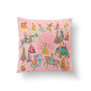 The Marriage of Draupadi Cushion - Oleander Pink Linen 50x50cm