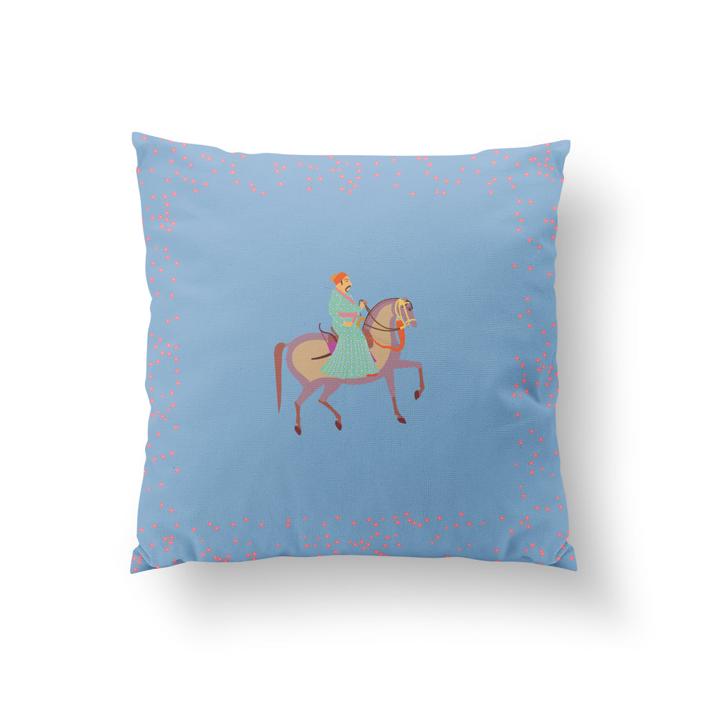 Load image into Gallery viewer, The Marriage of Draupadi Cushion - Mahal Blue Pure Silk 45x45cm