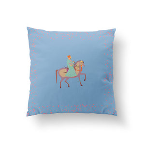 The Marriage of Draupadi Cushion - Mahal Blue Pure Silk 45x45cm