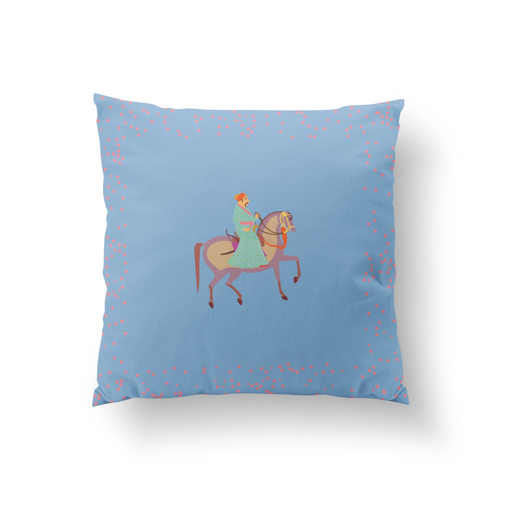 The Marriage of Draupadi Cushion - Mahal Blue Linen 50x50cm