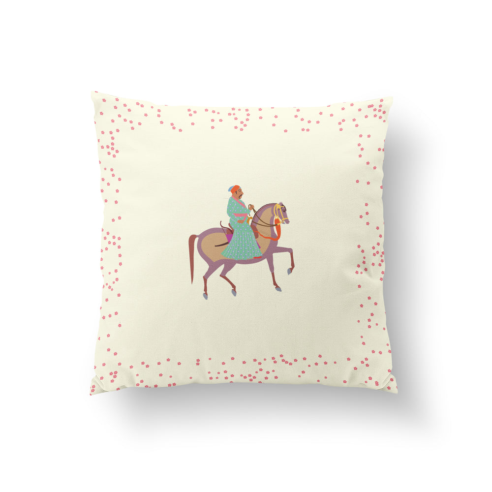 The Marriage of Draupadi Cushion -  Plumeria Ivory Pure Silk 45x45cm