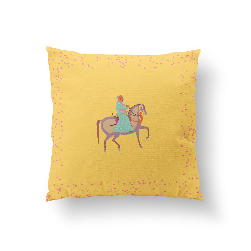 Load image into Gallery viewer, The Marriage of Draupadi Cushion - Laburnum Yellow Pure Silk 45x45cm