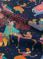 The Marriage of Draupadi Fabric - Night Sky Blue Cotton Linen