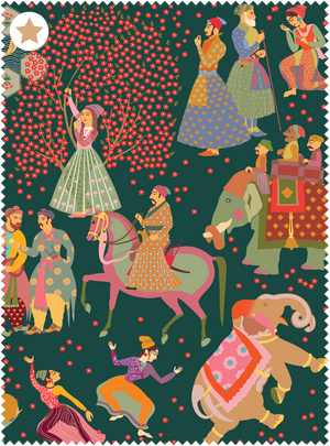 The Marriage of Draupadi Fabric - Hunter Green Cotton Linen