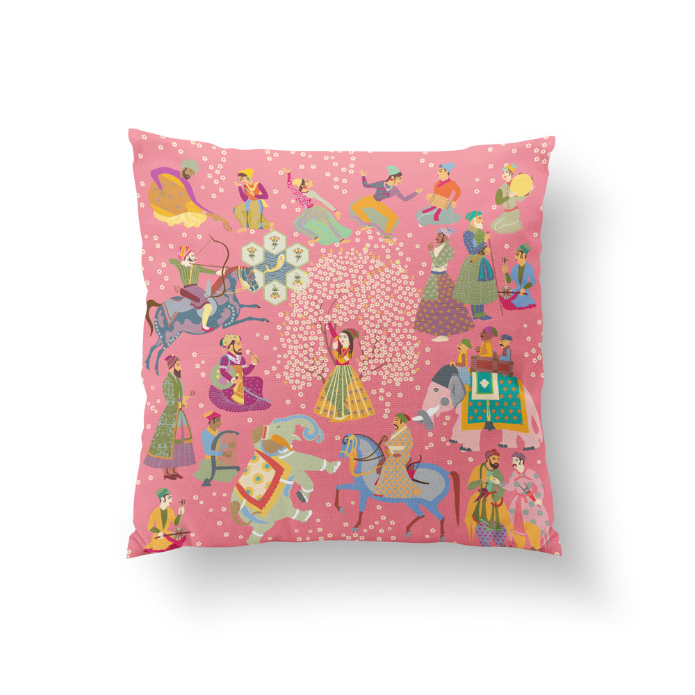 Load image into Gallery viewer, The Marriage of Draupadi Cushion - Blushing Pink Linen 50x50cm