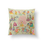 The Marriage of Draupadi Cushion - Tender Green Linen 50x50cm