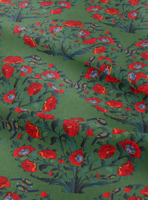 In Full Bloom Fabric - Moss Green Cotton Linen