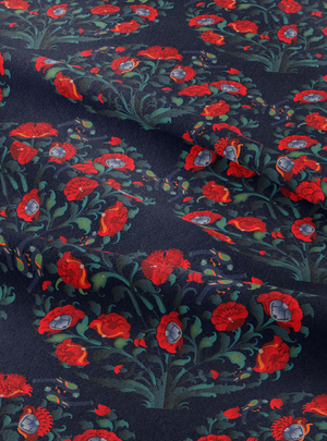 In Full Bloom Fabric - Regal Blue Cotton Linen