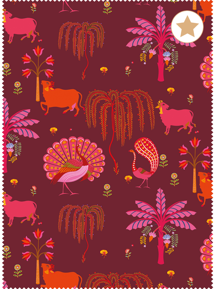 Load image into Gallery viewer, Madhuban Fabric - Garnet Cotton