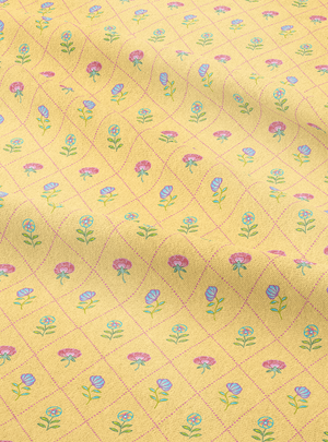 Field of Flowers Fabric - Thandai Yellow Cotton