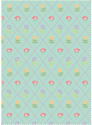 Field of Flowers Fabric - Khus Green Cotton