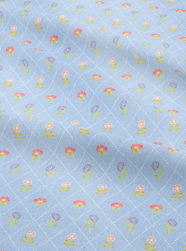 Load image into Gallery viewer, Field of Flowers Fabric - Barsaat Blue Cotton