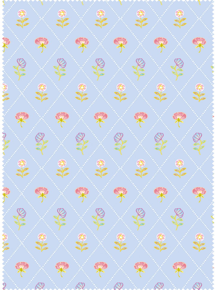 Field of Flowers Fabric - Barsaat Blue Cotton