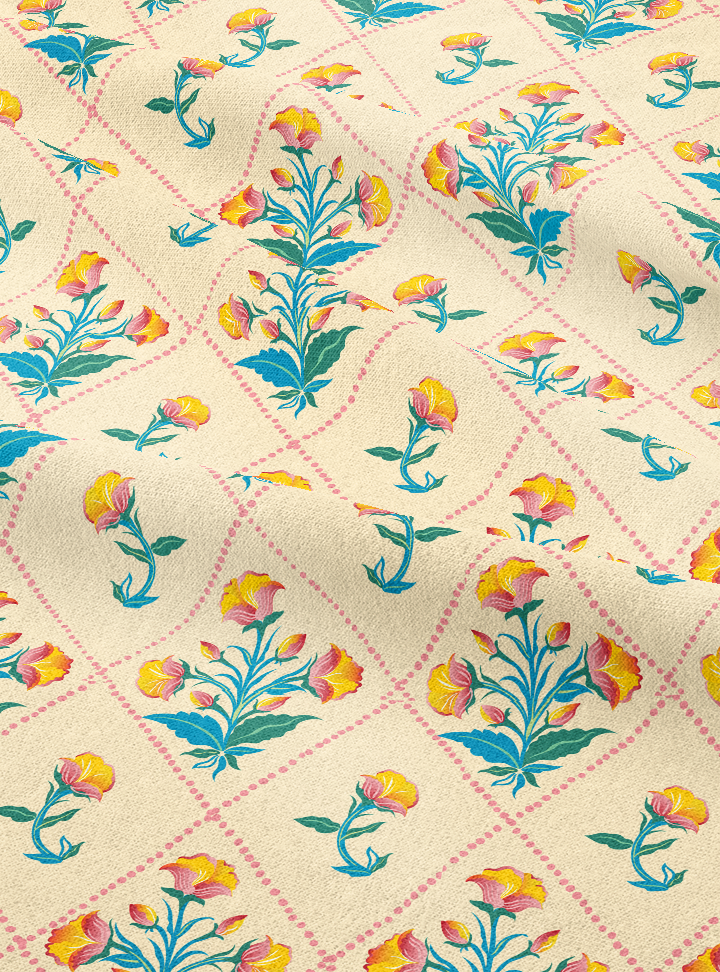 Rajkumari Bouquet Fabric - Kulfi Yellow Cotton