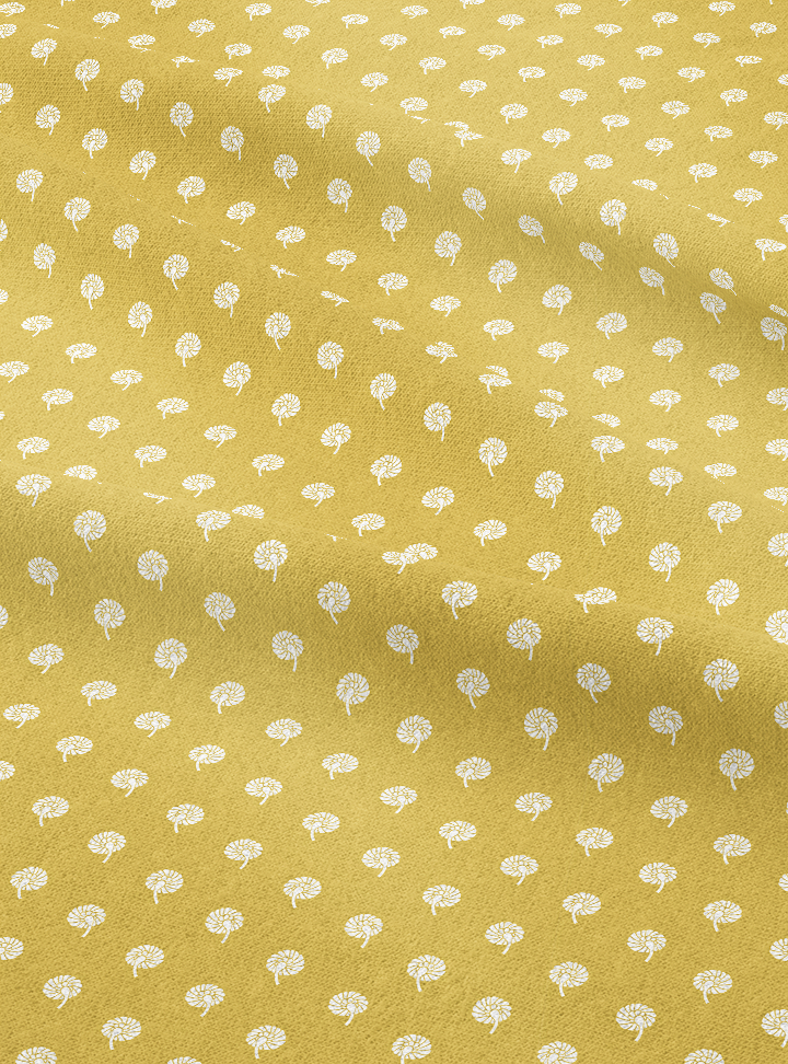 Dandelions Fabric - Bel Mustard Cotton