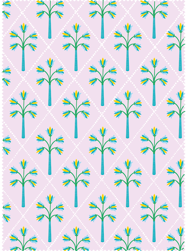 Flower Palm Fabric - Sharbat Pink Cotton