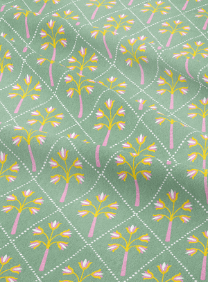 Flower Palm Fabric - Mist Green Cotton