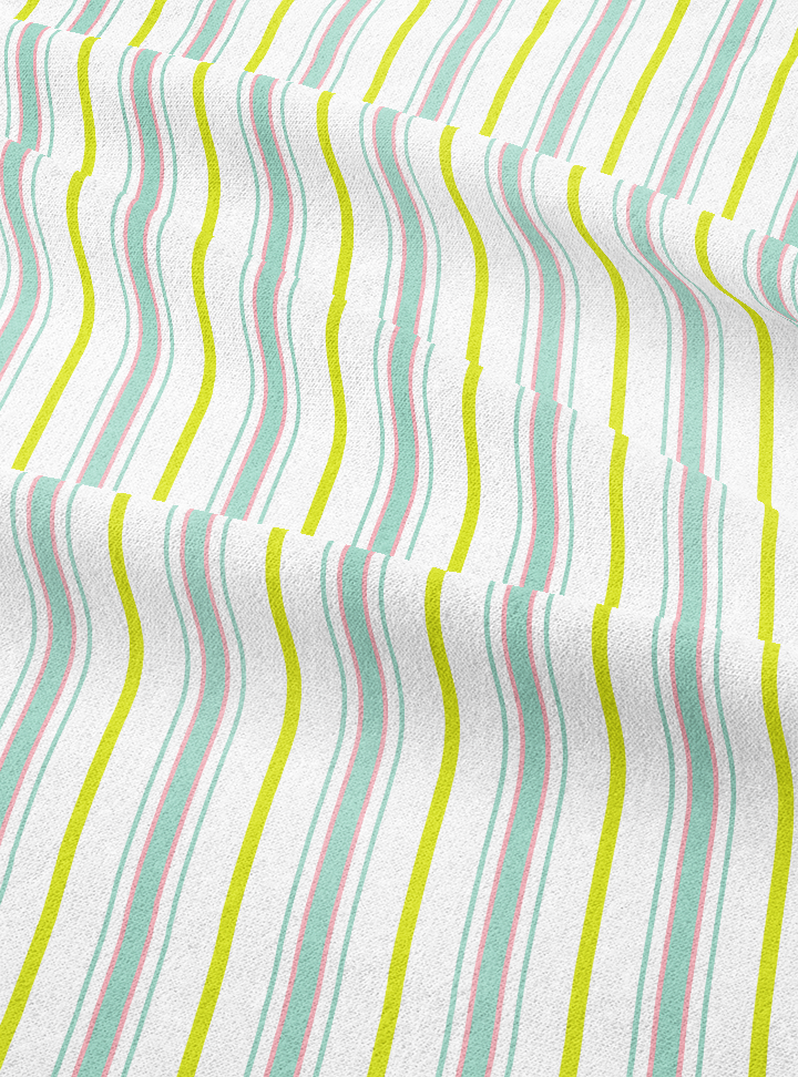Lawnmover Stripes - Makhan White Cotton