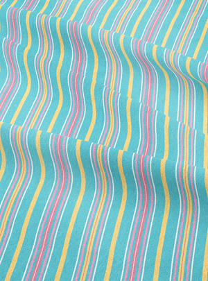 Lawnmower Stripes Fabric - Hayaat Blue Cotton