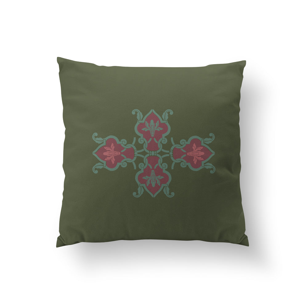 Lattice Cushion - Rich Henna Pure Silk 45x45cm