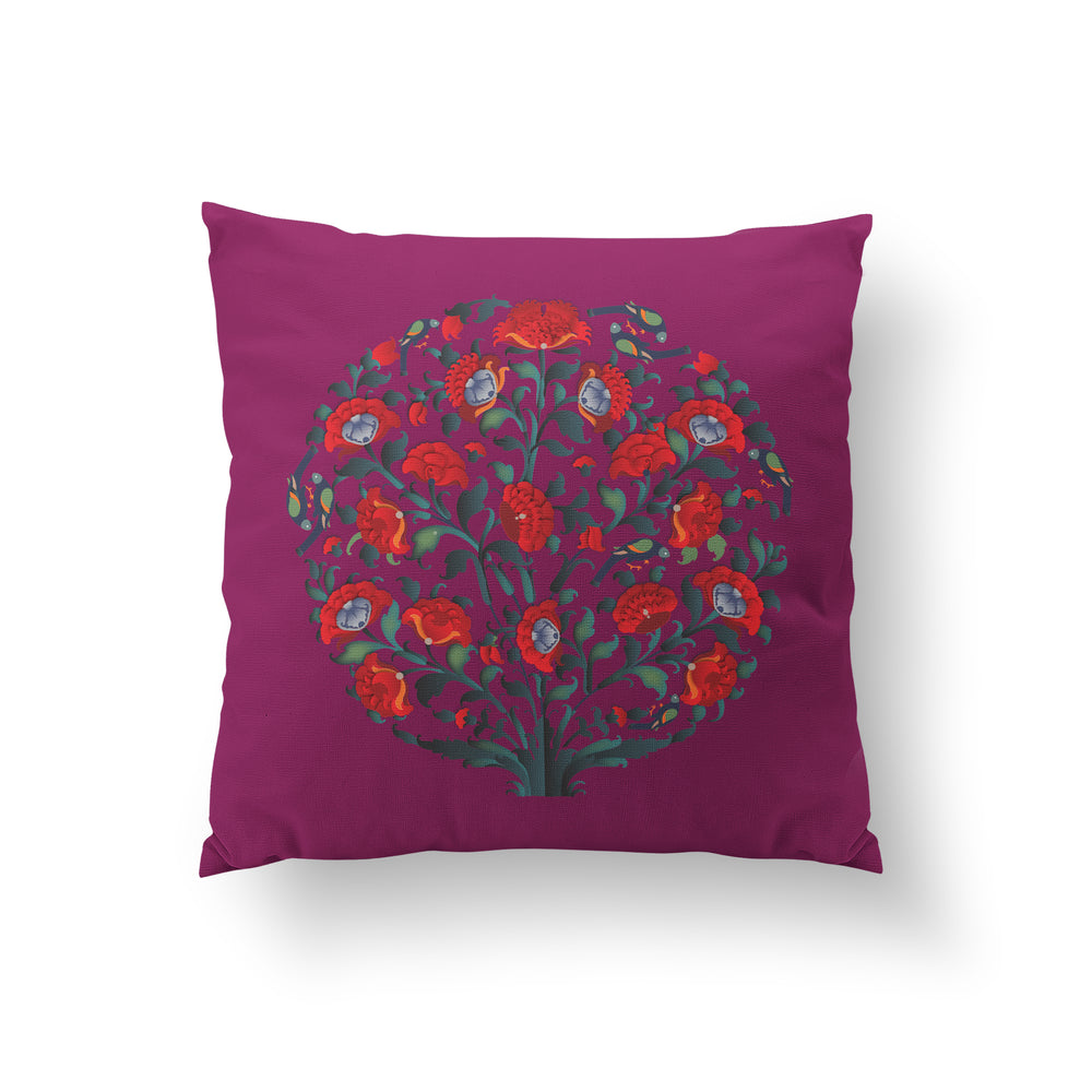 In Full Bloom Cushion - Jewel Plum Pure Silk 45x45cm