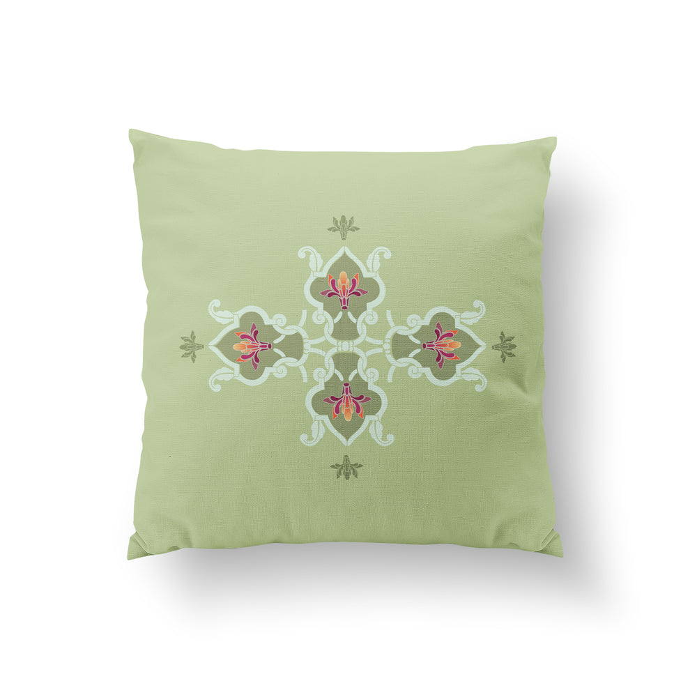 Lattice Cushion - Tender Pistachio Pure Silk 45x45cm