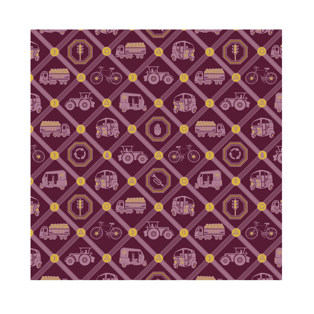Upwardly Mobile Fabric - Maroon Cotton