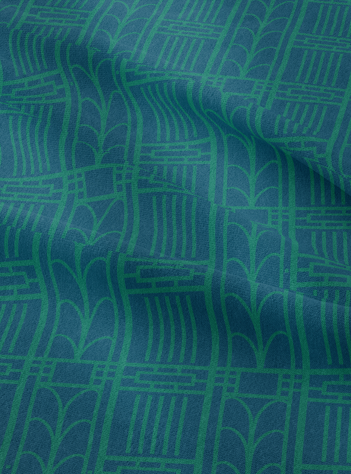 Dwelling Fabric - Blue Green Cotton Linen