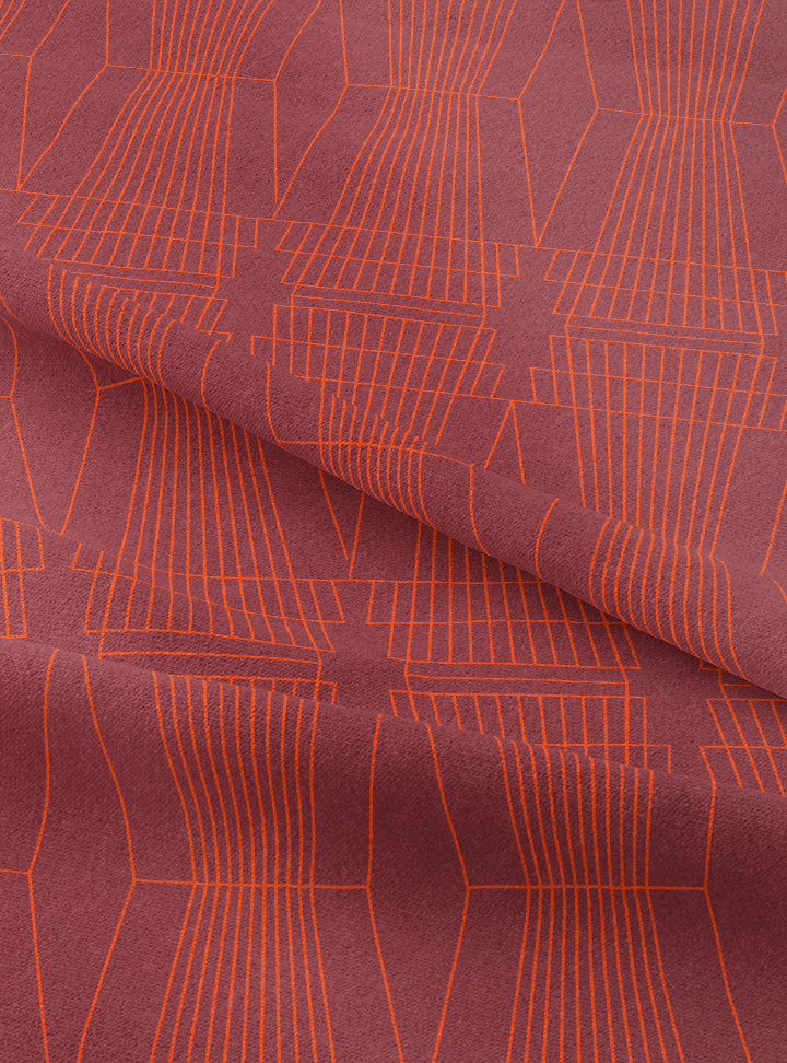 Ziggurat Fabric - Agate Red Cotton