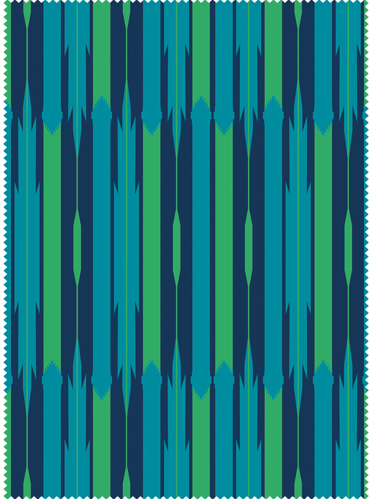 Seven Seas Fabric - Peacock Blue Cotton
