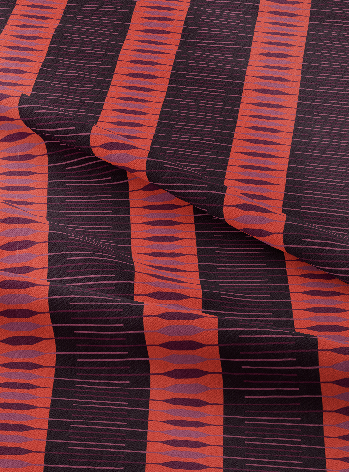 Seven Seas Fabric - Aubergine Orange