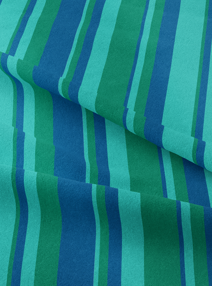 Musical Stripes Fabric - Viridian Blue Green Cotton