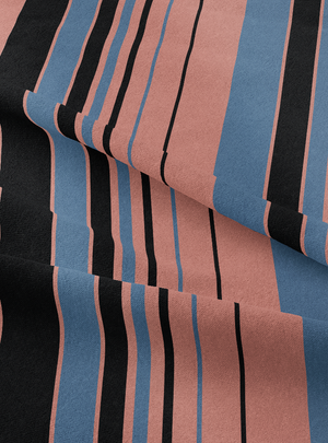 Musical Stripes Fabric - Blue Sienna Cotton