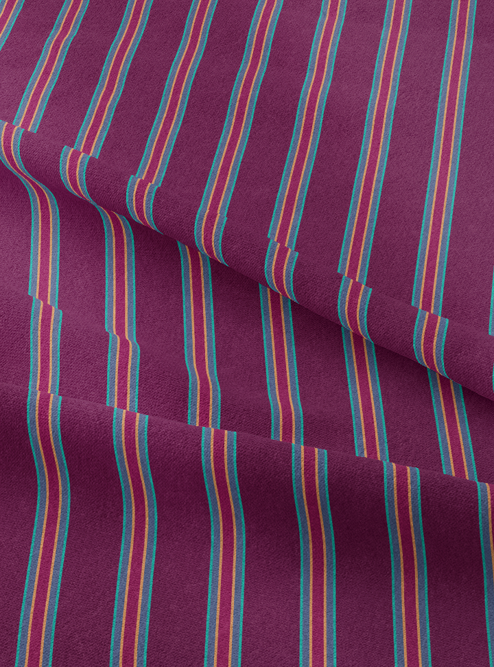 Musical Stripes Fabric - Deep Plum Cotton