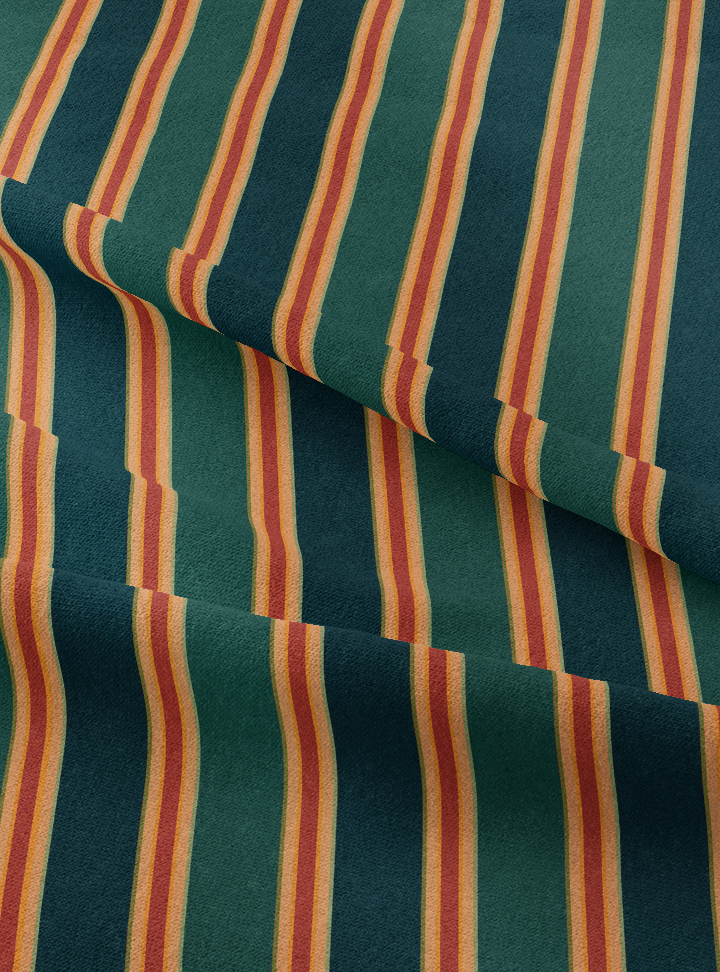 Musical Stripes Fabric - Jamakalam Green