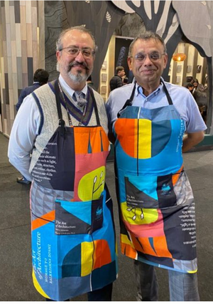 Load image into Gallery viewer, Artist Apron with Pockets, Multicolour Cotton