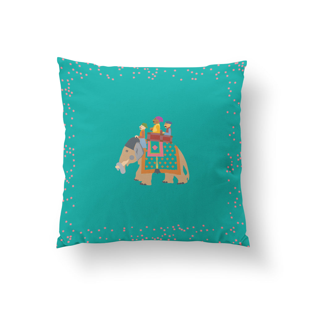 The Marriage of Draupadi Cushion - Firozi Blue Linen 50x50cm