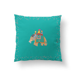 Load image into Gallery viewer, The Marriage of Draupadi Cushion - Firozi Blue Linen 50x50cm