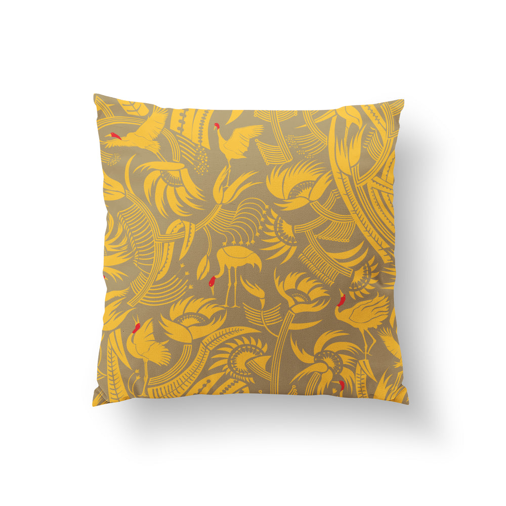 You Can't Put Butter On a Crane's Head Cushion - Canary Yellow Linen 50x50cm