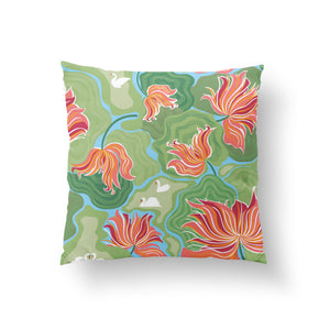 Load image into Gallery viewer, Grows in Mud, Smells of Myrrh Cushion - Blush Pink/Green Cotton 50x50cm