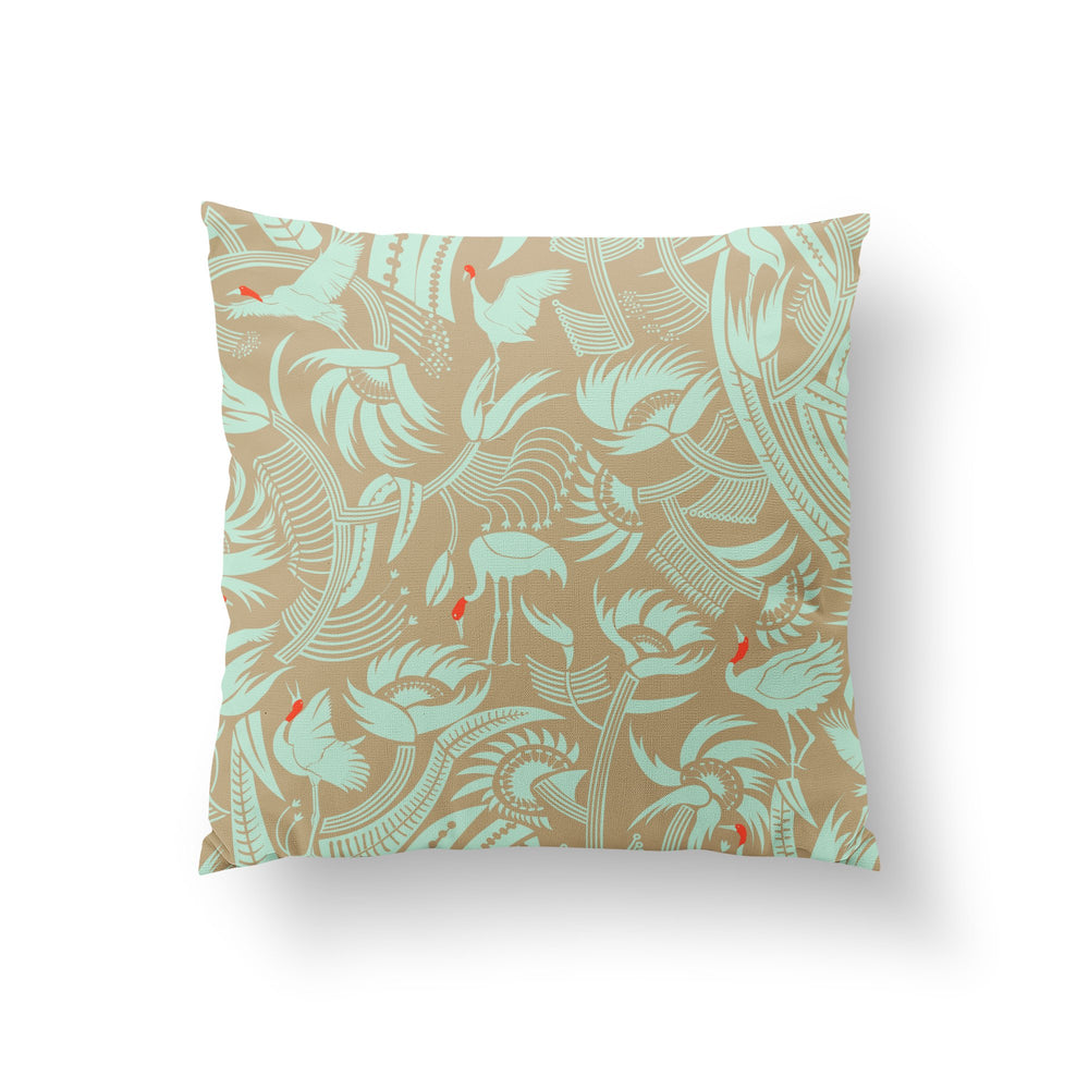 Load image into Gallery viewer, You Can't Put Butter On a Crane's Head Cushion - Mint Linen 50x50cm