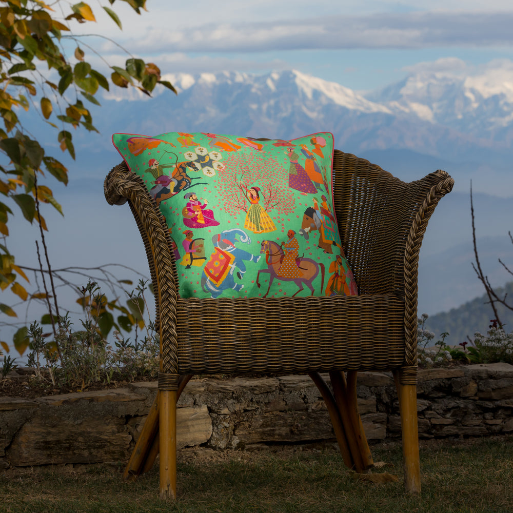 Load image into Gallery viewer, The Marriage of Draupadi Cushion - Bundi Jade Linen 50x50cm
