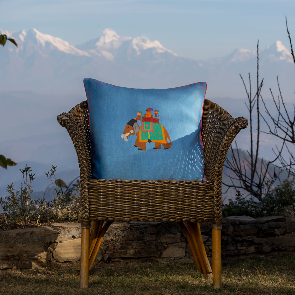 Load image into Gallery viewer, The Marriage of Draupadi Cushion - Mahal Blue Linen 50x50cm
