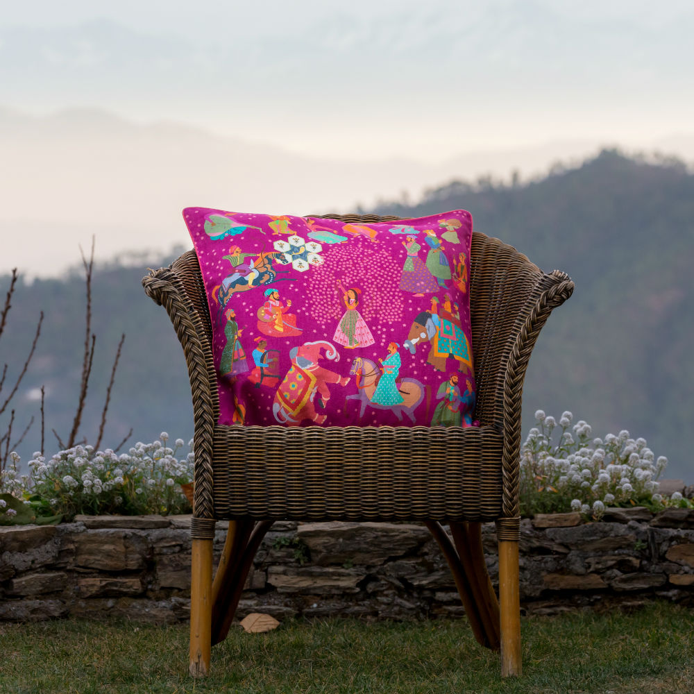 Load image into Gallery viewer, The Marriage of Draupadi Cushion - Gulabi Pink Linen 50x50cm